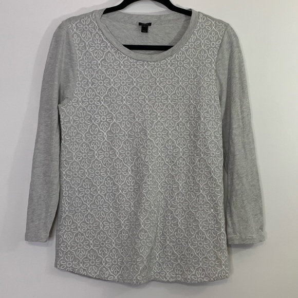 J Crew Knit Top sweatshirt embroidered detail gray